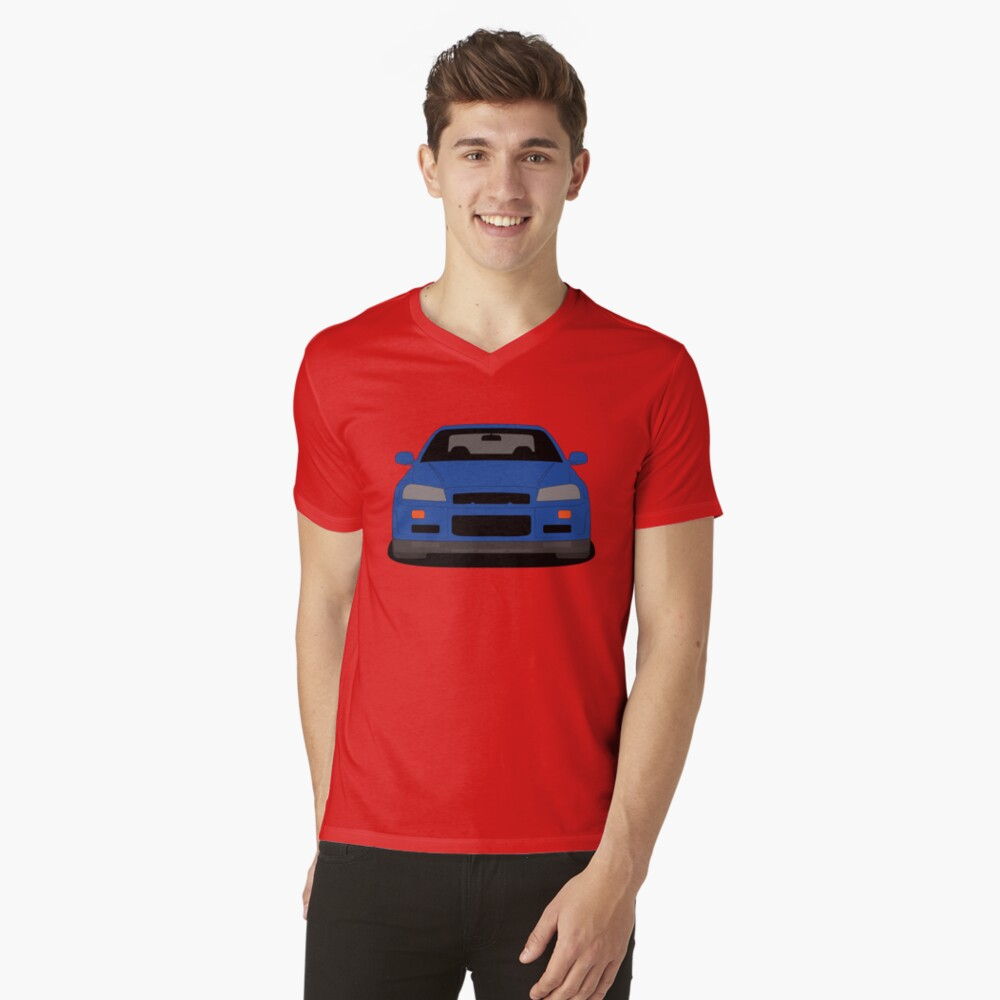 Nissan Skyline GT-R R34 V Neck T-shirt